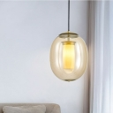 Contemporary Oval Pendant Ceiling Light Clear Glass 1 Head Gold Dining Room Hanging Lamp, 7