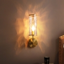Clear Water Glass Tube Wall Sconce Mid Century Modern 1 Light Wall Lighting in Brass