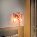 Open Bulb White/Pink/Blue Glass Wall Light Fixture Modern Stylish 2 Heads Wall Mount Lighting over Table