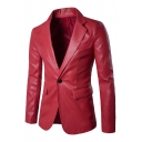 Winter Popular Solid Color Long Sleeve Single Button PU Leather Blazer Jacket for Men