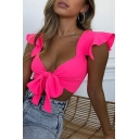 Girls' Sweet Ruffled Sleeve Deep V-Neck Bow-Tied Neon Color Plain Crop Top for Party