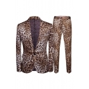 Mens Casual Leopard Pattern Single Button Fitted Long Sleeve Blazer and Pants Two Piece Suit Set