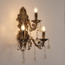 Brass Candelabra Wall Light Fixture Vintage Metal 3 Heads Sconce Light with K9 Crystal Decoration