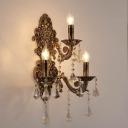 Brass Candelabra Wall Light Fixture Vintage Metal 3 Heads Sconce Light with K9 Crystal Decoration