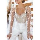 Cute Hot Long Sleeve Sweetheart Neck Polka Dot  Ruffled Cuff Plain Sheer Mesh Slim Fit Crop Blouse for Women