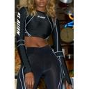 Black Athletic Women's Long Sleeve Mock Neck Letter KL ALIEN Contrast Stitch Reflective Sheer Mesh Slim Crop Tee