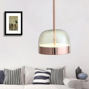 Copper Dome Pendant Lighting Fixture Postmodern 1 Head Clear Glass Hanging Light Kit