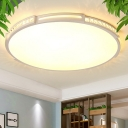 LED Acrylic Flush Mount Lighting Fixture Simple White Round/Square/Rectangle Living Room Close to Ceiling Light in Warm/White/3 Color Light