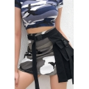 Girls' Casual Cool Buckle Belt High Waisted Camo Print Pleated Patched Pocket Detail Asymmetric Short A-Line Cargo Skirt