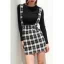 Girls' Stylish Trendy High Waist Plaid Print Zip Back Fit Short A-Line Suspender Skirt in Black