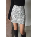 Fancy Edgy Girls' High Waist Leopard Patterned Tight Mini Skirt in Black