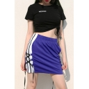 Blue Sport Elastic Waist Lace Up Side Contrast Piped Fit Short Track Skirt for Girls