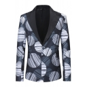 Creative Circle and Lines Pattern Long Sleeve Contrast Peak Collar One Button Black Tuxedo Suit