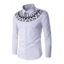 Mens Funny Tribal Geo Pattern Long Sleeve Single Breasted White Leisure Shirt
