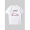Girls Funny Cartoon Cat Letter NOT TODAY Pattern Short Sleeves White Sports Tee