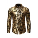 Mens Cool Metallic Zebra Printed Long Sleeve Button Up Skinny Fit Non-Iron Club Shirt