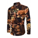 Cute Deer Floral Printed Long Sleeve Button Up Slim Fit Cotton Shirt for Men