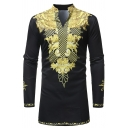 African Popular Printed Long Sleeve Curved Hem Black and Gold Fitted T-Shirt for Men