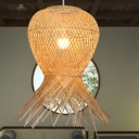 Single Light Basket Hanging Ceiling Light Modern Style Bamboo Handmade Pendant Lamp in Beige