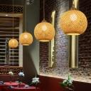 Orb Ceiling Pendant Lamp Handwoven Asian Style 1 Light 12