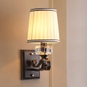 Brass/Black Finish Wall Mount Light with Cone Shade Modernism Fabric 1 Light Sconce Light