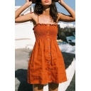 Orange Cute Sleeveless Tied Strap Button Down String Selvedge Pleated Fit Short Beach A-Line Cami Dress for Girls