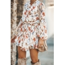 Trendy Ladies' Blouson Sleeve Band Collar Floral Print Button Bow Tie Waist Pleated Mini A-Line Shirt Dress in Apricot