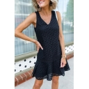 Plain Elegant Ladies Sleeveless V-Neck Hollow Out Lace Short Pleated A-Line Tank Dress in White
