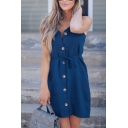Fancy Ladies Sleeveless Button Down Tied Waist Ruffled Trim Short Shift Cami Dress in Navy Blue