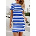 Street Casual Short Sleeve Crew Neck Stripe Printed Short Shift T Shirt Dress for Women
