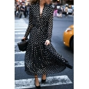 Chic Trendy Black Long Sleeve Deep V-Neck Lace Up Polka Dot Ruffled Trim Pleated Long Flowy Dress for Ladies
