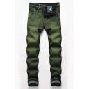 Mens Exclusive Plain Green Zip Front Straight Fit Casual Denim Pants