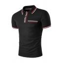 Mens Classic Color Block Striped Trim Short Sleeve Lapel Collar Slim Fit Polo Shirt