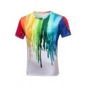 Mens Chic Rainbow Dripping Paint 3D Print Short Sleeve Slim Fit White T-Shirt
