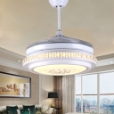 Circle Ceiling Fan Light Modernist Crystal White Led Flush Light with Remote Control/Wall Control/Remote Control and Wall Control