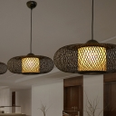 1 Head Oval Pendant Lamp Chinese Style Hand Knitted Bamboo Hanging Ceiling Light in Black/Wood