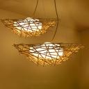 Bamboo Bird Nest Ceiling Pendant Lamp with White Glass Egg Shade 3 Lights 16.5