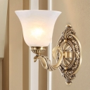 Metal Carved Wall Sconce Fixture Vintage Stylish 1 Light Stairway Gold Wall Lighting with Opal Glass Petal Shade