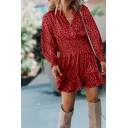 Cute Ladies' Long Sleeve Surplice Neck Polka Dot Ruched Ruffled Trim Plain Pleated Short A-Line Dress