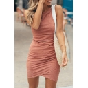 Plain Elegant Sleeveless Crew Neck Ruched Short Bandage Dress for Ladies