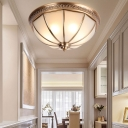 3 Bulbs Flush Mount Light Fixture Colonialism Bowl Milky Glass Ceiling Lamp in Brass for Bedroom