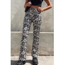 Unique Trendy Ladies' Mid Rise Zebra Printed Full Length Fitted Straight Lounge Pants in White