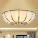 Curved Frosted Glass Brass Ceiling Flush Dome/Drum/Crown 4 Heads Colonialist Flush Mount Lamp for Bedroom