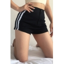 Women's Basic Sexy Mid Rise Contrasted Piped Skinny Leggings Shorts in Black