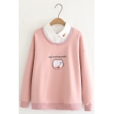 Patched Lapel Embroidered Letter SOME ADVICE FROM YOUR GOLDFISH Long Sleeve Loose Sweatshirt