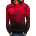 Mens Leisure Camouflage Pattern Color Gradient Long Sleeve Drawstring Hoodie