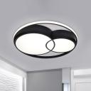 Nordic 2-Drum Flush Mount Light Acrylic Black LED Ceiling Light Fixture in Warm/White/3 Color Light