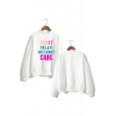 Unique Letter SORRY I'M LATE BUT I DIDN'T CARE Mock Neck Long Sleeve Loose Sweatshirt