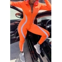 Edgy Girls' Long Sleeve Deep V-Neck Zipper Down Contrast Piped Reflective Long Tight Plain Jumpsuit