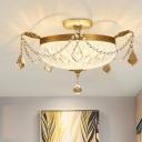 Brass Dome Ceiling Light Fixture Postmodern Carved Crystal LED Flush Mount Light